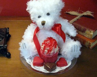 """Sweet Heart Teddy Bear and Strawberry Cupcake Candle Gift Set-6"""""""