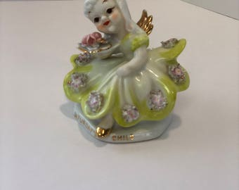 Vintage Lefton Japan Saturday's Child Angel Figurine Hand Painted Green Dress Gold Accents Pink Flowers and Spaghetti Trim Marked K 9281