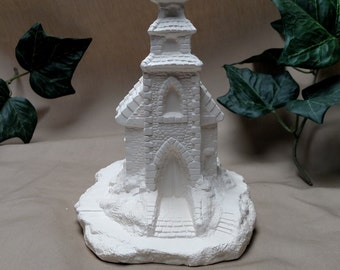 Ceramic Village Church, Christmas decor, village, collectible,