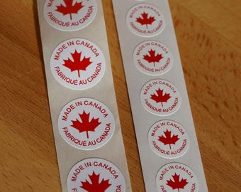 MADE In CANADA labels - 200 Labels - FREE Shipping via Registered Mail - Small or Large Sizes Available - Fabrique Au Canada