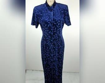 Womens vintage velvet button up dress cheongsam