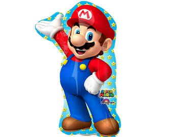 "Super Mario Brothers Balloon 33"" Foil Mylar Video Game Gamer Birthday Party Decoration Supplies"