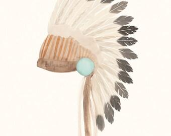 "Indian Headdress Art Print, 8""x10"" Bohemian Tribal Artwork, Perfect illustration for the home, baby boy nursery or boys room"