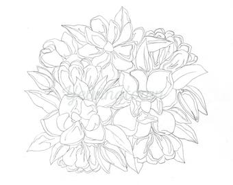 Magnolia coloring book page; adult coloring book; instant digital download
