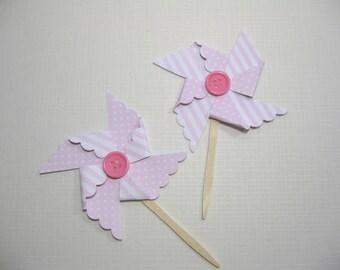 10 Cupcake Toppers - Food Picks - Polka Dot Striped Pin Wheel Cupcake Toppers - Cupcake Picks - Baby Shower Favors