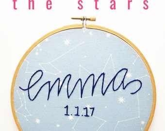 Constellation, Zodiac Nursery. Modern Nursery Embroidered Name Custom Sign. Personalized Sign Embroidery Hoop Art. Nursery Sign Baby Name.