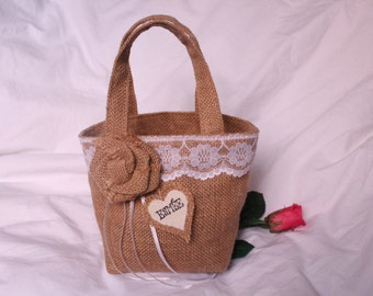 Flower girl basket, hessian bag with burlap flower, lace trim and ribbons. Bridesmaid confetti holder for rustic, country or barn wedding