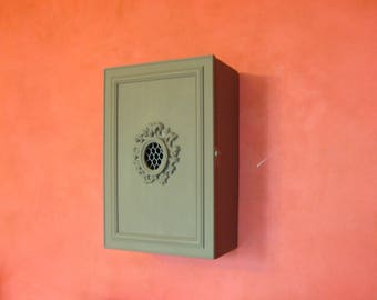 Wall cabinet / wall cabinet / medicine taupe colored wood.
