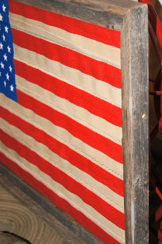 52152 Vintage Fire Hose American Flag Framed