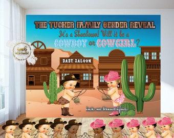 DIGITAL FILE Cowboys vs Cowgirls, Pistols or Pearls Gender Reveal Back Drop Poster Signage Decor