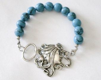 Art Nouveau Turquoise Beaded Bracelet, Art Nouveau Goddess, Turquoise, Silver, Jewelry, Art Nouveau Nymph Turquoise Beaded Bracelet