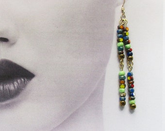Earrings, Long Beaded Dangle, Multicolor