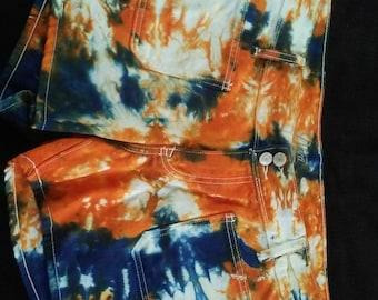 Blue and Orange Tie Dye Shorts