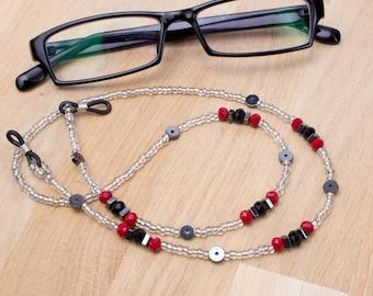 Hematite and red bead eyeglass chain -  gemstone silver glasses chain | Eyewear neck cord | Sunglasses holder | Reading lanyard
