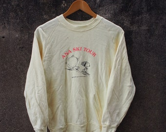 SNOOPY Cool Joe Ana Ski Tour Cartoon Vintage 80's Punk Yellow Crewneck Pullover Jumper Sweatshirt Sweater Size S