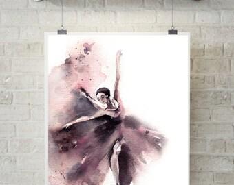 Ballerina Fine Art Print, Ballet Painting, watercolor print of ballerina, Ballet wall art, modern watercolor art