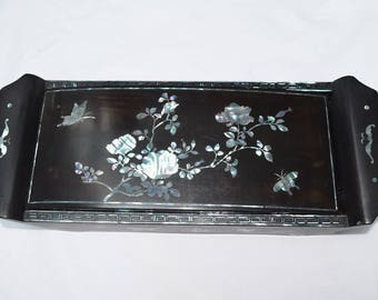 Vintage inlaid Mother of Pearl Cigarette box and ashtray.