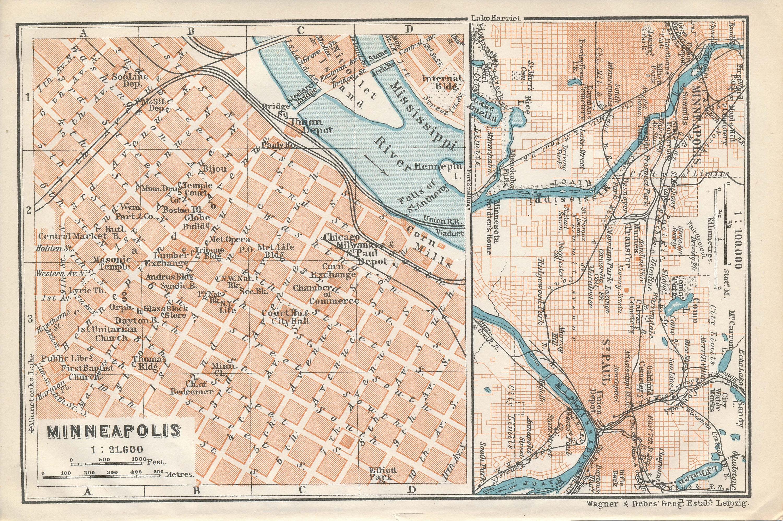 1909 Minneapolis Minnesota antike Karte
