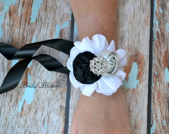 BEST SELLER - Wedding Chiffon Satin Flower Wrist Corsage | Vintage Inspired | Prom Homecoming | White Gray Silver Black | Rhinestone