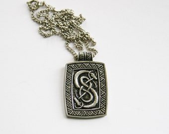 Celtic Serpent Snake Pendant // Pewter w/ 18 Inch Chain // Costume Jewellery // Made in England // Celtic Jewellery