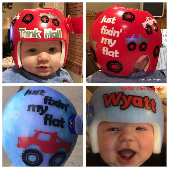 Personalized cranial band decals monster truck fixing my