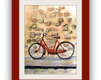 Painting - bike - Original transparent watercolour - 30x40 cm