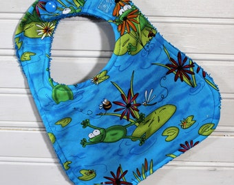 Bib - Baby Bib - Frog Jump - Gender Neutral Baby Bib for Baby Girl or Baby Boy - Drool Bib - Shower Gift - Handmade Bib