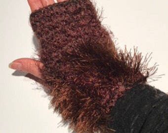 Vegan Hand knit text-ure fingerless gloves loaded with textures in browns tones