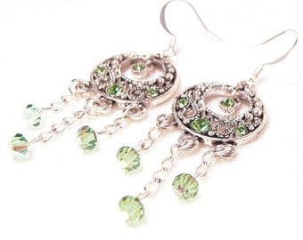 Peridot Crystal Antiqued Earrings, Jewellery by Natty Creations