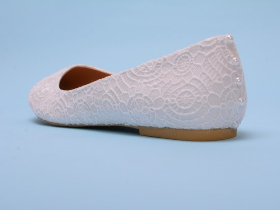 shoes shoes flat bride flat Bridal White White Bridal shoes flats flats shoes White for Pearl for bride bridal flat White wedding Lace x8CwPXWqB4