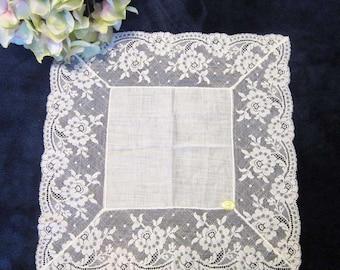 "Wedding Hanky Vintage French Lace and Linen, Bridal Hankie, Bride's Hankie, Something Old, White Lace, 12"", Bridal Shower, Wedding Keepsake"