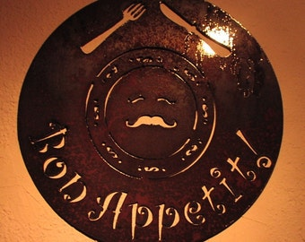 Bon Appetit Too- Metal Bistro Art/Wall Decor- made of 16 gauge steel and powder coated