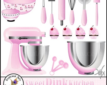 Sweet Pink Kitchen Clipart Graphics - 16 kitchen baking supplies cupcakes wisk rolling pin pizza cutter spatula [ INSTANT DOWNLOAD ]