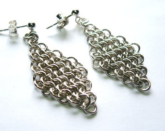 Sterling Silver Chainmaille Diamond Euro 4 in 1 Earrings with Posts