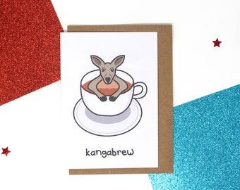 Funny birthday card, tea card, kangaroo card, cute card, funny card, brew, funny kangaroo card, funny tea card, animal card, puns