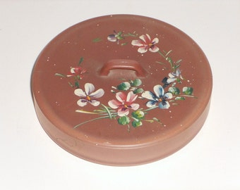 Pink Painted Floral Glass Powder Dish Vintage