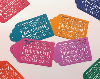 Spanish Thank You Tags, Gracias Tags, 50 cents Per tag, present tags, Wedding bridal shower Thank you favor tags, baby shower present tags