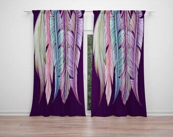 Purple Feathers  Window Curtains Boho Chic