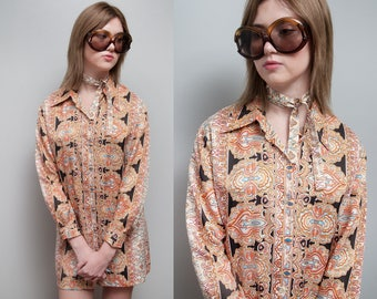 Vintage 1970's | Mini | Shirt Dress | Tunic | Ethnic Pattern | Large Collar | M/L