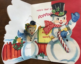 Vintage Holiday 1950  Pop Up Card with Mr and Mrs Snowman with Presents. Free Shipping,  Children's Christmas Card, Gay Greetings Co.