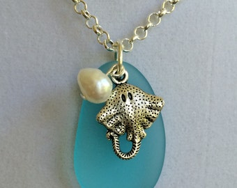 Sea Glass Silver Manta Ray and Pearl Necklace