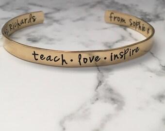 Teach Love Inspire Bracelet / Custom Teacher Gift / Teacher Bracelet / New Teacher Gift / Best Teacher Gift / Personalized Teacher Gift