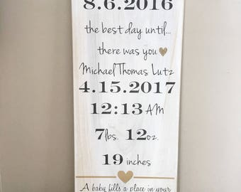 a baby fills a place in your heart birth announent Important date art *Personalized wood sign 12X24