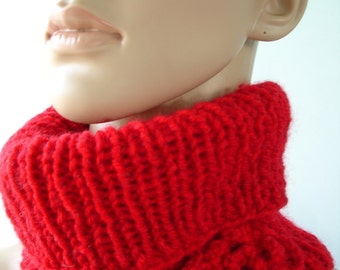 Red Scarflette with knitted flower - ready to ship