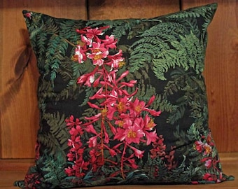 Tropical Ferns and Flowers Pillow Cover Decorative Throw 18x18