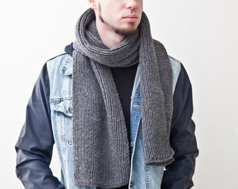 Gray Scarf for Him, Long Scarf for Men, Handmade Knit Men's Scarf, Unisex Scarf, Fathers Day Gifts, Boyfriend Gift Christmas