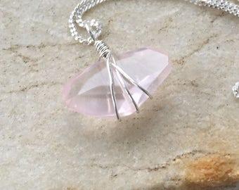 Rose Quartz, Rose Quartz Necklace, Freeform Cut Gemstone, Natures Splendour Jewelry, Natures Splendour, Handmade Pendant, Heart Chakra
