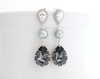 Dark Gray Wedding Earrings, Grey Pearl Bridal Earrings, Swarovski Bridal Earrings, Charcoal Wedding Jewelry, Pearl and Crystal Earrings Long