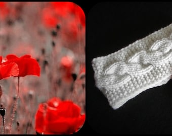 Knitted headband for little girl or women with poppy brooch