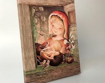 Provence Virgin. Canvas print mounted in frame. Reproduction numbered of Juan Ferrandiz's work